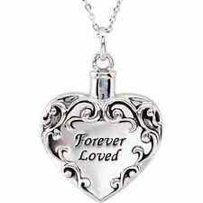 Memorial Cremation Ash Holder Sterling Silver FOREVER LOVED Heart Necklace