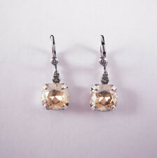 Catherine Popesco Silver Medium Champagne Swarovski Crystals Earrings