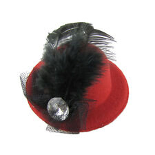 Women Rhinestone Feather Red Mini Top Hat Fascinator Hair Clip MT