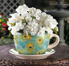 Turquoise Peacock Feathers Teacup Saucer Planter Country Garden