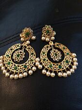 18k on4k Real gold Pearl Emerald Chand Bali Baali Nizam Mughal Earrings Pachi