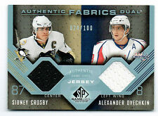 2008 UD SP Game Used Authentic Fabrics Crosby /Ovechkin Dual Jersey Card 20/100
