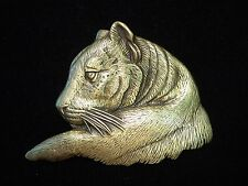 """JJ"" Jonette Jewelry Bronze Pewter Lioness Profile Face Pin ~ BEAUTIFUL"