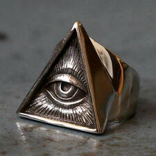 Mexican Biker Ring Skull sterling silver freemason illuminati triangle masonic