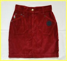 VINTAGE MOSCHINO JEANS RED COTTON VELVET PEACE SIGN MINI SKIRT IT 38 0 00 XXS XS