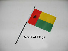 "GUINEA BISSAU SMALL HAND WAVING FLAG 6"" x 4"" Guinean Table Desk Crafts Display"