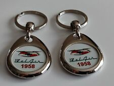 1958 CHEVROLET BEL AIR KEYCHAINS 2 PACK DOUBLE SIDED LOGO  BELAIR