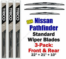 Wiper Blades 3-Pack Front Rear - fit 1996-2003 Nissan Pathfinder 30221/210/10-1