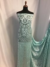 "NEW Mint / Silver Colour Jacquard Net Lace High Class Fashion Fabric 58"" 147cm"