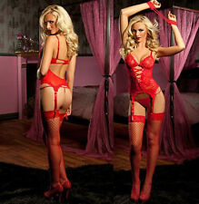 NY04 RED  Women's Sexy Lingerie Lace Dress+G string+Handcuff+Garter Belt