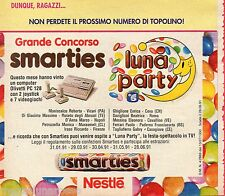 Pubblicità Advertising Werbung 1996 SMARTIES Nestlè Concorso Luna Party