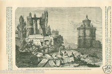 Dovecotes Pigeonniers & Cemetery Ispahan Isfahan Persia Iran GRAVURE PRINT 1870
