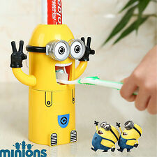 Minions Kids Toothpaste Dispenser & Toothbrush Holder Children Suction Cup Set