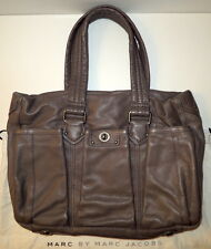 Authentic MARC JACOBS TOTALLY TOTE TURN LOCK LEATHER GRAY SHOULDER BABY HANDBAG