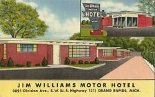 Postcard Michigan Grand Rapids Jim Williams Motor Hotel Linen Unused c1940s