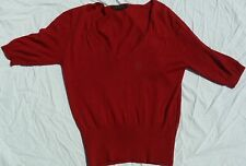 VINTAGE PRADA WOMANS CLOTHES SHORT SLEEVE SWEATER DARK RED ITALIAN SIZE 46