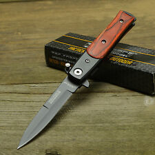 TAC Force Lil' Milano Stiletto Style Brown Wood Handle Assisted Open Knife 438WB