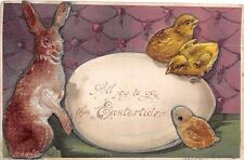 EASTER, E-148135 -- Flocked RABBIT (add-on?), 3 Chicks (1 flocked) 1910 postcard