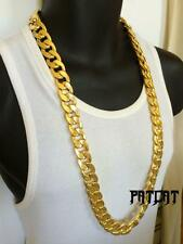 SOLID HEAVY 14K YELLOW GOLD FINISH 14mm 30 INCHES RAPPERS MIAMI CUBAN LINK CHAIN