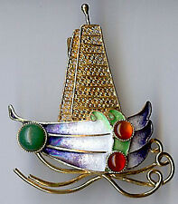 VINTAGE CHINESE GOLD WASH STERLING SILVER ENAMEL & CABOCHON GEMS BOAT PIN