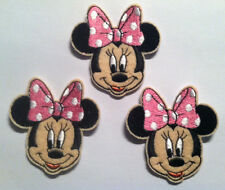 Lot of 3 Minnie Mouse w/PINK BOW Embroidered Iron On Applique patch
