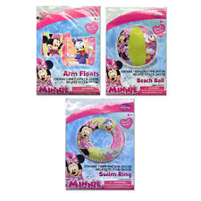 "Disney Minnie Mouse Kids 20"" Swim Ring Tube / Arm Floats / 20"" Beach Ball NIP 3+"
