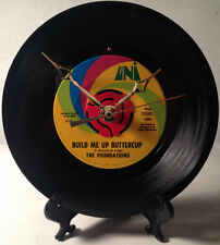 "Recycled THE FOUNDATIONS 7"" Vinyl Record / Build Me Up Buttercup / Record Clock"