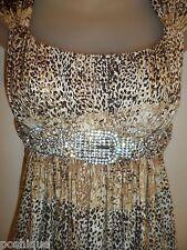 Sky Clothing Brand XS Dress Rhinestone Crystal Belt Leopard Animal Print Sexy