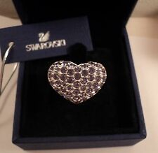 Signed Swan Swarovski Rhodium Pave' Heart Ring with Lavender Crystals