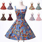 8 STYLES FLORAL VINTAGE STYLE 1950's SWING PARTY PROM HOUSEWIFE DRESS
