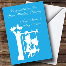 Blue Couple on Swing Personalised Wedding Blessing Greetings Card