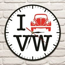 I love VW Beetle design vinyl record wall clock home art shop office hobby car