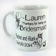 PERSONALISED BRIDESMAID GIFT MUG CUP PRESENT WEDDING DAY FAVOUR THANK YOU FAVOR
