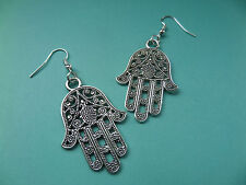 NEW! Hamsa Hand - Tibetan Silver Earrings - In Organza gift Bag - Vintage/Retro