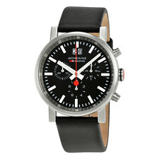 Mondaine Evo Big Chronograph Black Dial Black Leather Mens Watch