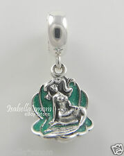 ARIEL & SEA SHELL Disney LITTLE MERMAID Genuine PANDORA Green ENAMEL Charm/Bead