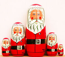 "Santa Claus Nesting Stacking Dolls 6"" Fast Shipping"