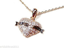 Bijou alliage cuivré collier coeur sur chaine I Love You necklace