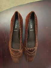 Authentic PRADA Shoes Vintage Brown Suede Size 35 1/2 Italy 5 1/2 USA