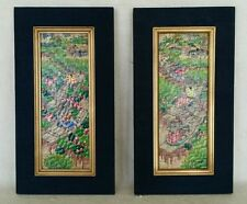 PAIR Signed Original Paintings on Woven Straw Framed Asian Boats Canal Thailand?