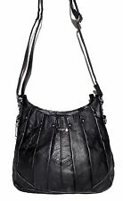 Lorenz Black Pebbled Leather Studded Pleated Crossbody Bag with Adjustable Strap