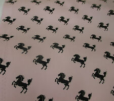 Pink with Black Horses Printed 100% Cotton Poplin Fabric