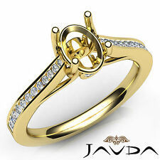 Channel Setting Oval Diamond Semi Mount Engagement Ring 18k Yellow Gold 0.3Ct