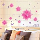 Pink Flower&Purple Butterflies Girls Room Wall Stickers Removable Vinyl Decor UK