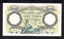 1939, Albania Paper Money, 20 FR. Italy Occupation. R2