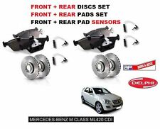 PER MERCEDES ML420 CDi 06   ANT + POST DISCHI FRENO SET+KIT PASTIGLIE+ SENSORI