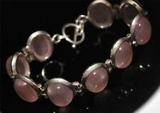 HUGE 925 SILVER ROSE QUARTZ GEM SET VERY PRETTY T-BAR  BRACELET / Or179