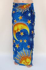 NEW UNISEX MENS WOMENS BLUE SUN MOON SARONG BEACH POOL THROW PAREO BNIP / sa007