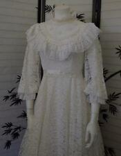 Victorian style Wedding Lace prarie ivory dress full lgth gown no flaws Vtg 70's