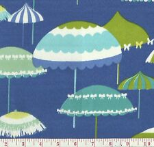 P Kaufmann Blue Indoor Outdoor Umbrella Print Upholstery Fabric Cannes Poolside
